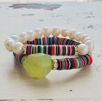 Boho Style African Vinyl & Pearls Stretch Bracelet at $115
