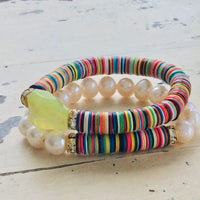 Boho Style African Vinyl & Pearls Stretch Bracelet at $175