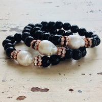 Rose Gold Black and white Glam Bracelet