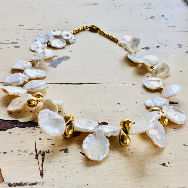 Petal Pearl & Gold Pyrite Briolettes Bridal Necklace