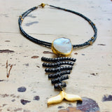 Fishbone Pearl Pendant Necklace