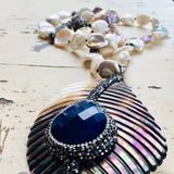 Blue Agate Shell Chunky Pendant Pearl Necklace at $465