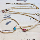 Delicate Long Necklace w Multi Colour Glass Spacers &Freshwater Pearl Necklace