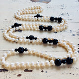 Black and White Pearl Rope Necklace at $385