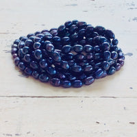 Very Long Peacock Dark Blue Pearl Rope Necklace