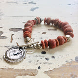 Roman Coin Charm Bracelet with Corals