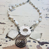 Silver Necklace with Keshi Pearls & Hematite