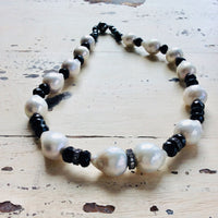 Black Spinel & Baroque Pearl Choker Necklace at $398