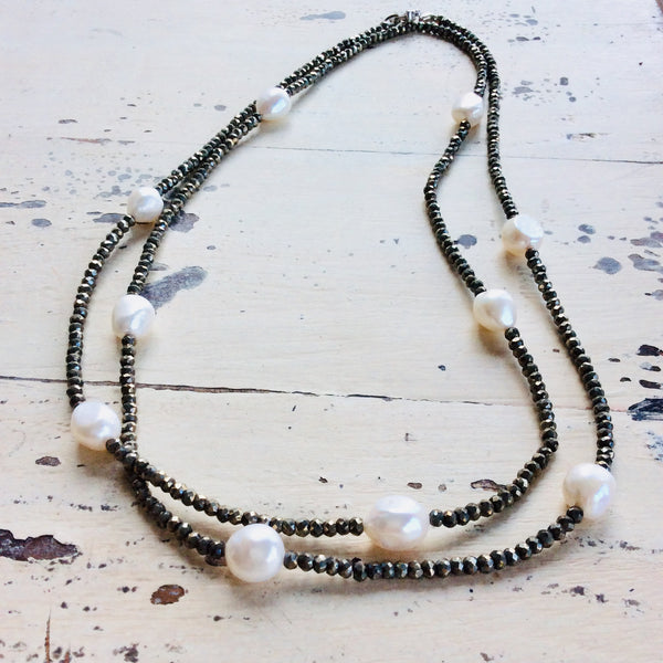 Pyrite & Pearl Long Necklace For Woman