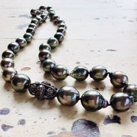 Tahitian Baroque Pearls Champagne Diamond Necklace
