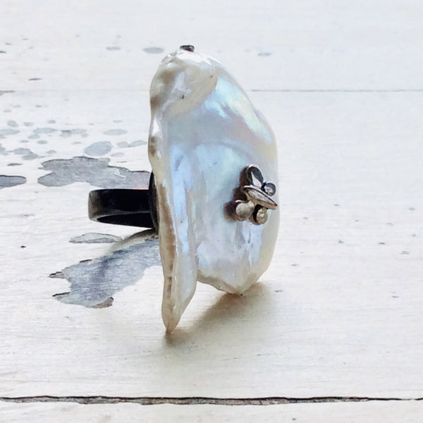 Butterfly Flat Baroque Pearl Ring at $195