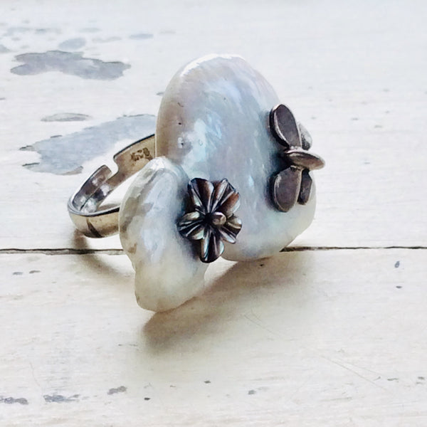 Butterfly & Abalone Flower Baroque Pearl Ring at $195