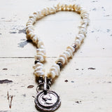 White Distressed Pearls Roman Coin Necklace