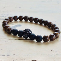 Skull Stack Bracelet For Him with Bronze Beads