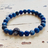 Skull Bracelet For Him with Blue Jeans Sodalite Beads