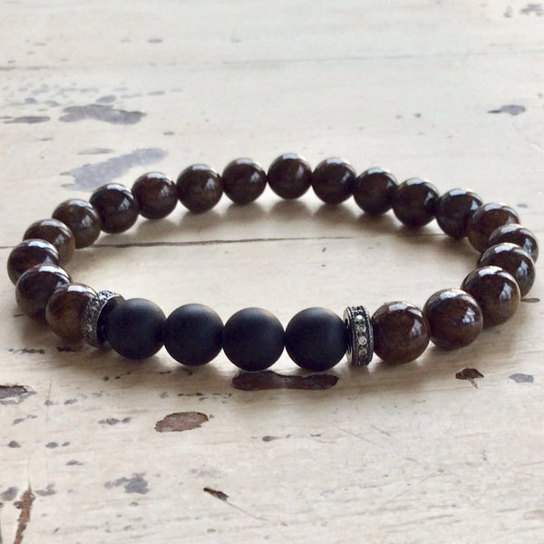 Bronzite & Onyx Bracelet For Him at $59