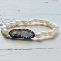 Minimalist Pearl Stretch Bracelet,Stackable Bracelet,Boho Chic Bracelet,Freshwater Pearl Bracelet