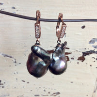 Rose Gold Vermeil Peacock Baroque Pearls Earrings