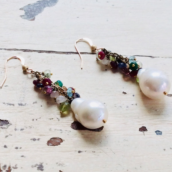 Mixed Gemstones Cluster Earrings w Baroque Pearls