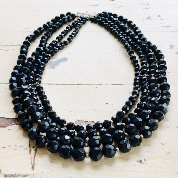 Black Onyx Matching Set-Multi Strand Necklace And Earrings at $495