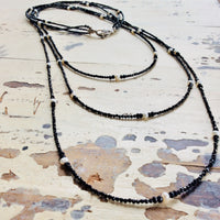 Black Spinel & White Pearls Multi Strand Matinee Necklace at $585