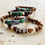 Green Jasper African Recycled Beads Wood Stack Bracelets