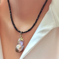 Genuine Baroque Pearl w Bronze Pyrite Necklace, Tiny Star Charm