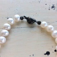 Freshwater Pearl Bridal Necklace, White Pearls Short Necklace