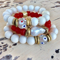 Baroque Pearl & Coral Red African Tribal Recycled Glass Bracelet