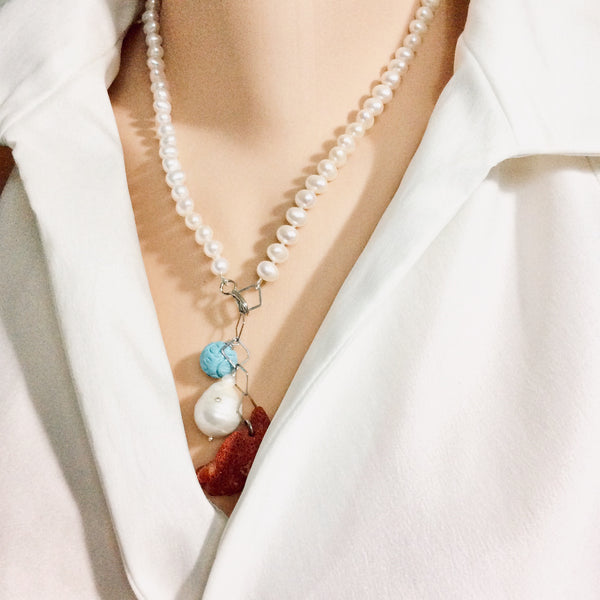 Pearl Necklace with Studded Baroque Pearl, Sponge Red Coral and Turquoise Charms