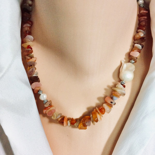 Shaded Carnelian Nuggets Necklace with Large Baroque Pearl and Sterling Silver Details