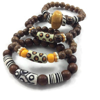 Wood & African Beads Stretch Bracelets