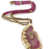 Hamsa Hot Pink Agate Pendant Necklace
