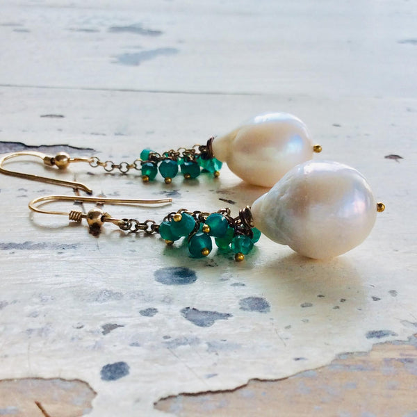 White Baroque Pearls Dangle Earrings, Women Green Onyx Earrings