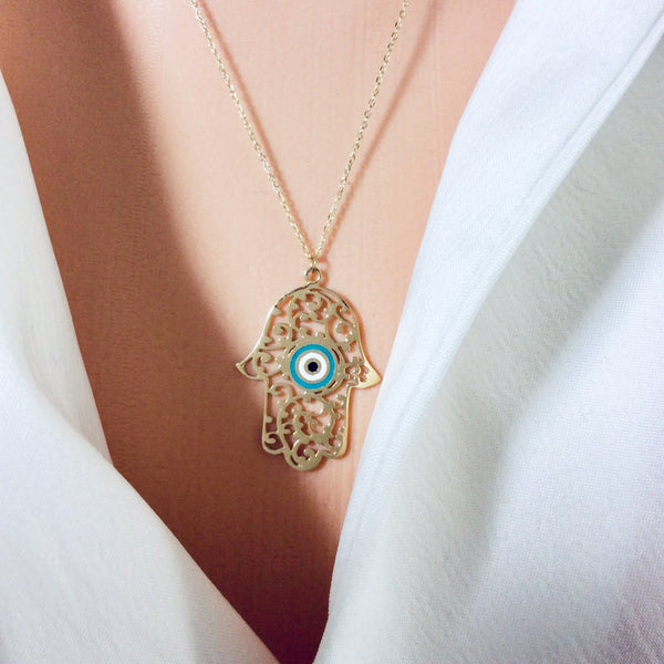 "18K Gold Dainty Minimalist Enamel Hamsa Necklace 20""Inches Long"