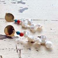 Baroque Keshi Pearl Earrings, Freshwater Pearl Gold Dangle Drop Earrings