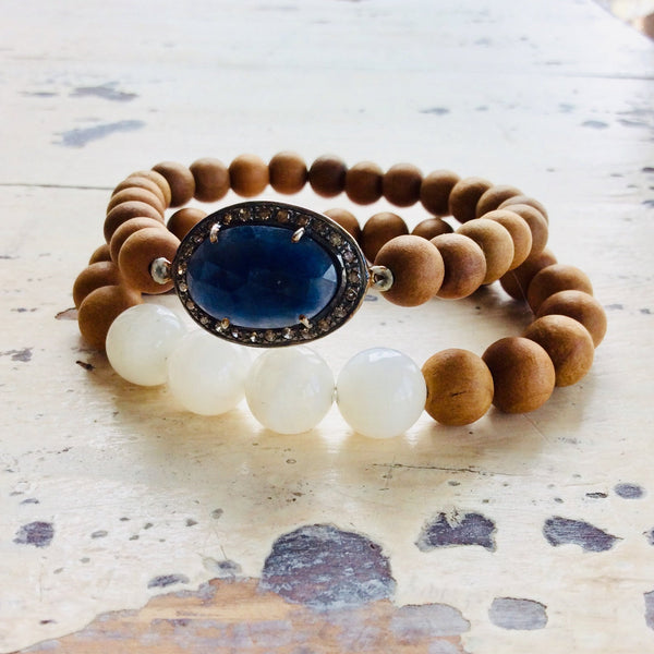 Diamond Blue Sapphire Sandalwood Moonstone Stretch Bracelet