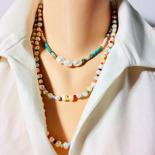 Pearls & African Glass Beads Long Rope Necklace
