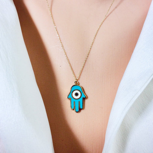 "18K Gold Hamsa Charm Enamel Pendant Necklace 18""Inches Long"