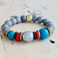 Coral Pearl Silver Gray Druzy Agate Turquoise Baroque Pearl Stretch Bracelet