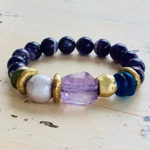 Amethyst Quartz Sea Glass Baroque Pearl Bracelet