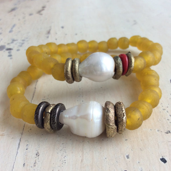Large Baroque Pearl & Yellow African Tribal Recycled Glass Bracelet