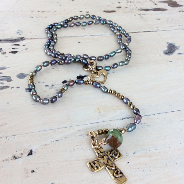 Y Long Pearl Necklace, Hope & Love Cross Necklace, Prasiolite Charm, Religious Jewelry