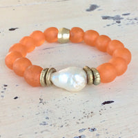 Large Baroque Pearl & Orange African Tribal Recycled Glass Bracelet