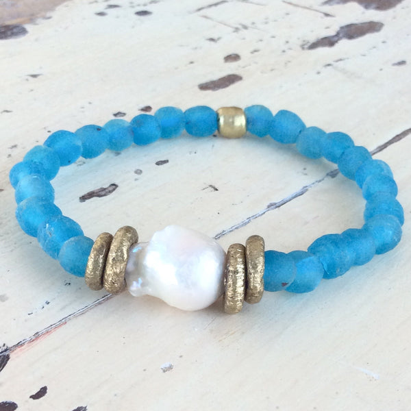 Large Baroque Pearl & Turquoise Blue African Tribal Recycled Glass