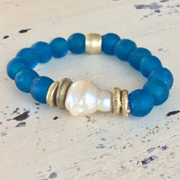 Large Baroque Pearl & Deep Ocean Blue African Tribal Recycled Glass Bracelet