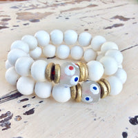 White Wood and Sea Glass Stretchy Bracelet