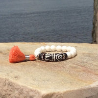 Tridacna and Lava African Recycled Glass Stack Bracelets