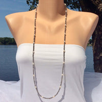 layering Long Labradorite & Pearl Necklace For Woman-Gemstone Necklace