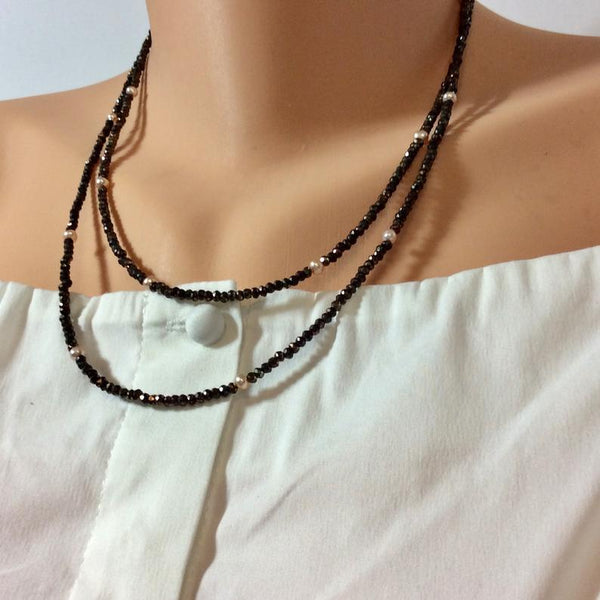Brown Coated Pyrite Beads w Freshwater Pink Pearls Long Necklace at $238